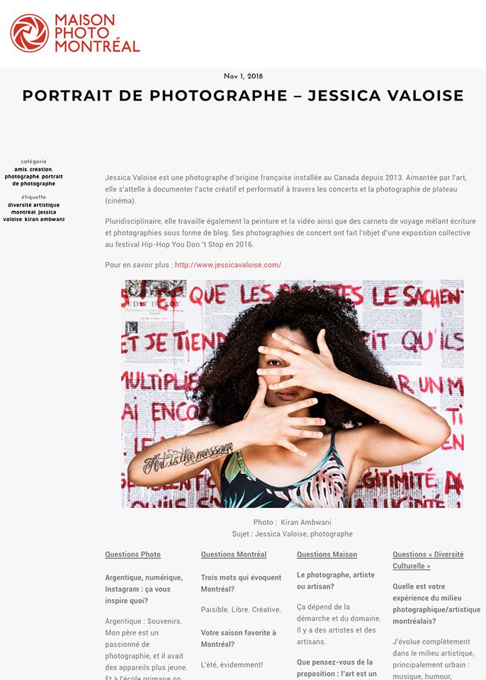 2018, Maison de la Photo de Montréal – « Portrait de Photographe - Jessica VALOISE