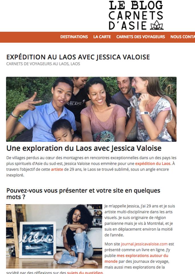 2018, Webzine, Carnets d'Asie – « Expédition au Laos avec Jessica VALOISE
