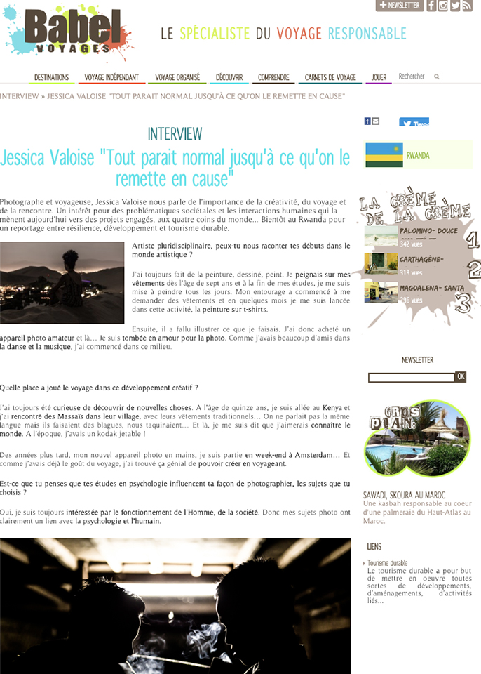 2019, Webzine, Babel – « Interview - Jessica VALOISE