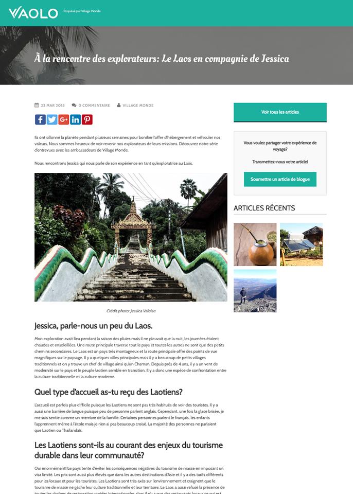 2018, Blog, Vaolo – « À la rencontre des explorateurs: Le Laos en compagnie de Jessica